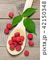Raspberry in wooden spoon top view 42150348