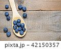 Blueberries in wooden spoon on table 42150357