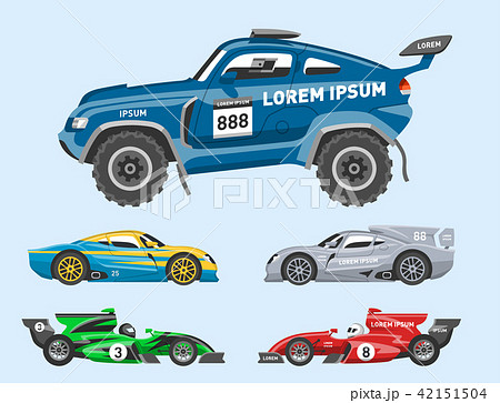Sport race car vector speed automobile and offroad rally car colorful fast motor racing auto driver 42151504