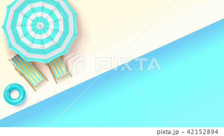Sun loungers, swimming ring under an umbrella at 42152894