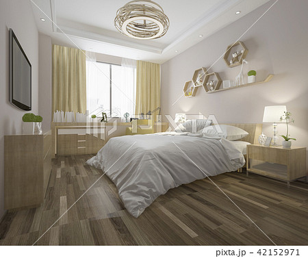 wood minimal style bedroom with view from window 42152971