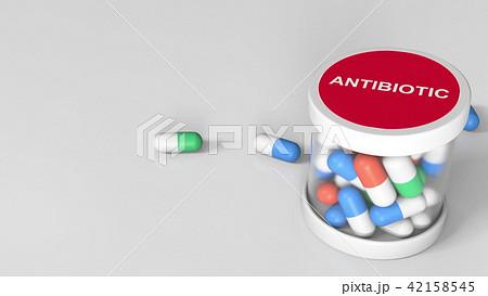 Antibiotic drug capsules in a jar. 3D rendering 42158545