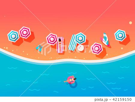 People swim and sunbathe.  42159150