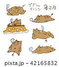 手書き猪の寝正月イラスト 年賀素材 干支動物 42165832