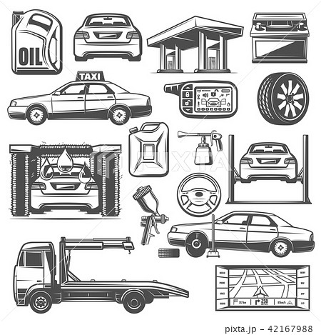 repair and service car maintenance icons vectorのイラスト素材