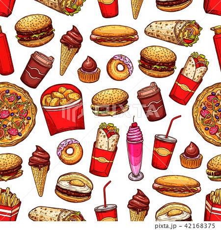 Fast food snacks and desserts seamless pattern 42168375