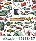 Fishing equipment and fishes seamless pattern 42168437