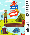 Catch fish vector poster with fisherman and boat 42168483