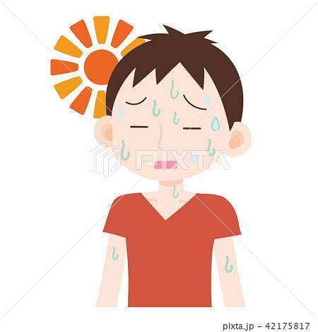 熱中症 高温多湿で汗だくの男性 42175817