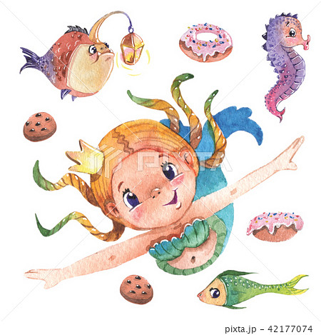 Hand painted cute little mermaid with fishes and sweets, watercolor illustration clipart set. 42177074