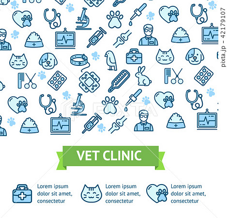 Veterinary Clinic Signs Banner Horizontal. Vector 42179107