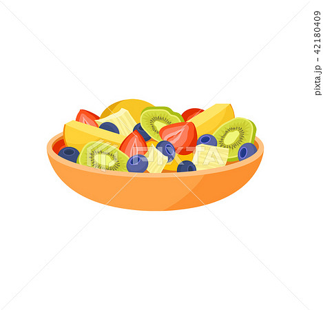 Orange bowl with fresh fruits and berries. Organic and healthy food. Vegetarian nutrition. Flat 42180409
