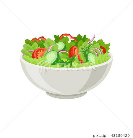 Fresh vegetable salad in gray ceramic bowl. Fresh and healthy food. Vegetarian nutrition. Flat 42180429