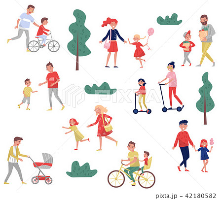 Young parents spending time with their kids. Outdoor activities. Family day. Happy childhood. Flat 42180582