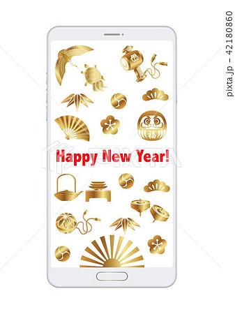スマートフォン 年賀状テンプレート 42180860