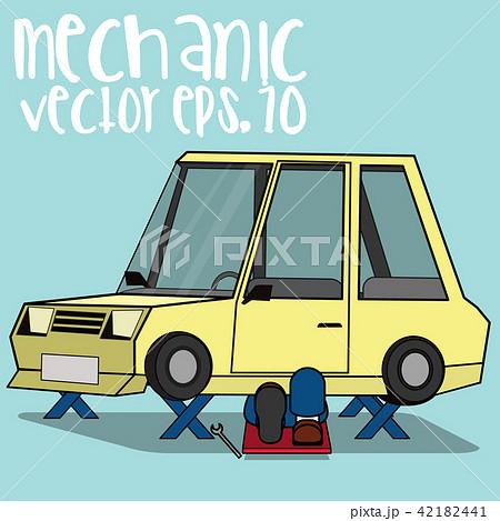 mechanical repair under car flat vector のイラスト素材 42182441