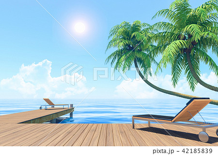 Outdoor living on summer vacation, Seaside terrace 42185839