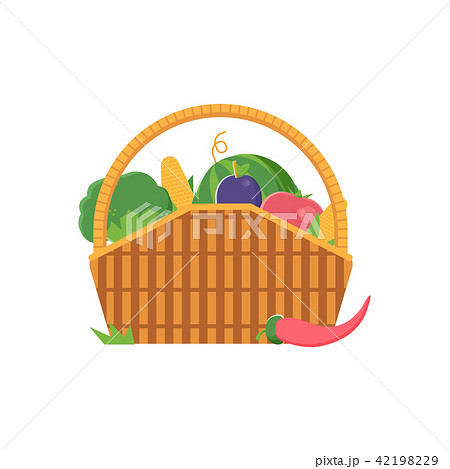 Wicker Picnic Vegetable Basket 42198229