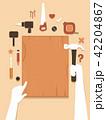 両手 かなづち トンカチのイラスト 42204867