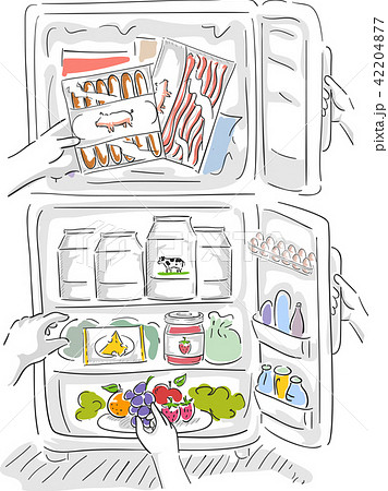 Hands Fridge Food Illustration 42204877