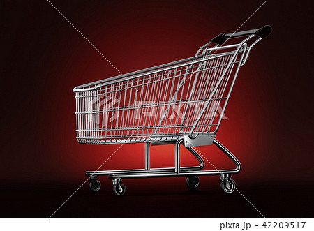 Empty shopping cart on red background 42209517