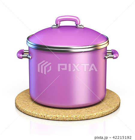 Purple cooking pot on cork pad 3D 42215192