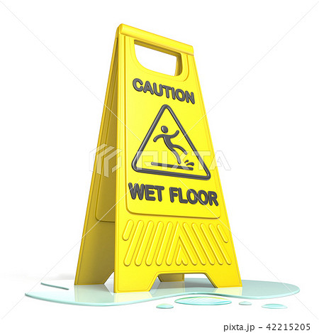 Yellow caution slippery wet floor sign 3D 42215205