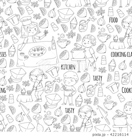 Coloring page for book. Kitchenware. Cooking class, courses for children and parents. Vector pattern 42216114