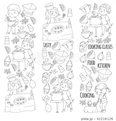 Coloring page for book. Kitchenware. Cooking class, courses for children and parents. Vector pattern 42216126