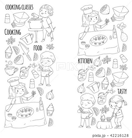 Coloring page for book. Kitchenware. Cooking class, courses for children and parents. Vector pattern 42216128