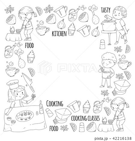 Coloring page for book. Kitchenware. Cooking class, courses for children and parents. Vector pattern 42216138