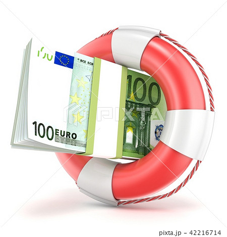 Life buoy with euros banknote. 3D 42216714