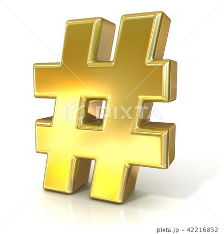 Hashtag, number mark 3D golden sign 42216852