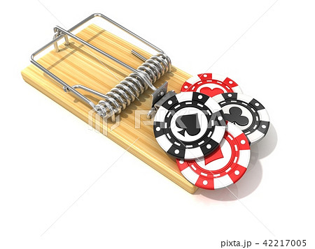 Set of gambling casino chips in wooden mousetrap 42217005