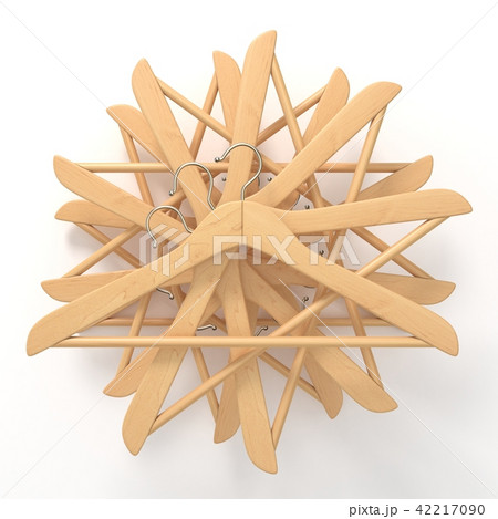 Wooden hangers, star arranged. 3D 42217090