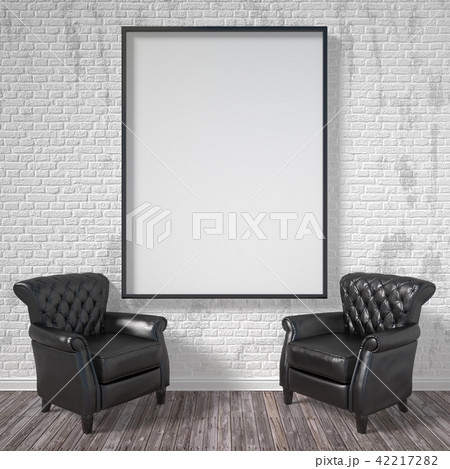 Blank picture frame with black armchairs 3D 42217282