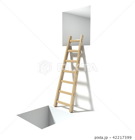 Wooden ladder, window and hole 3D 42217399