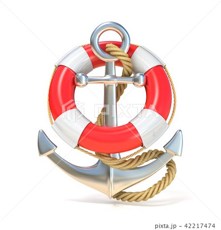 Anchor, lifebuoy and rope. 3D 42217474