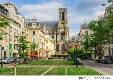 Tram on the streets and Architecture of Reims 42223459