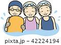 水泳 ビート板 シニアのイラスト 42224194