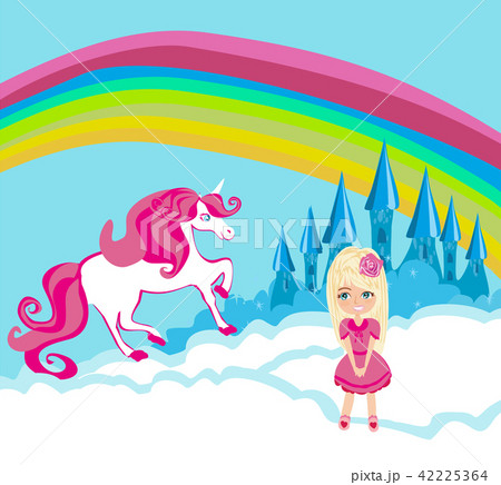 Card with a cute unicorn and sweet girl 42225364