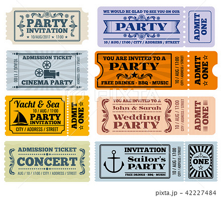 entertainment party and cinema vector vintage tickets coupons