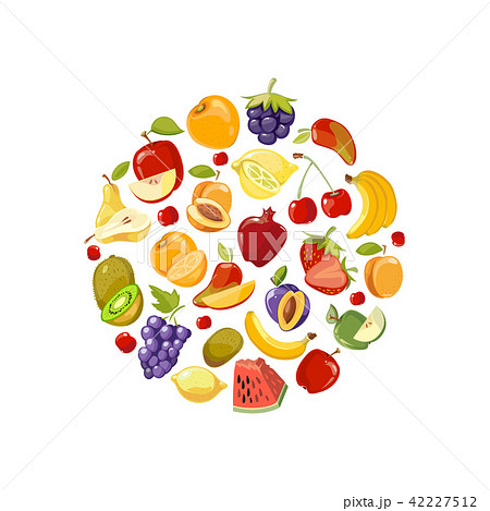 Circle made of fruits vector flat icons. Healthy organic food concept background 42227512
