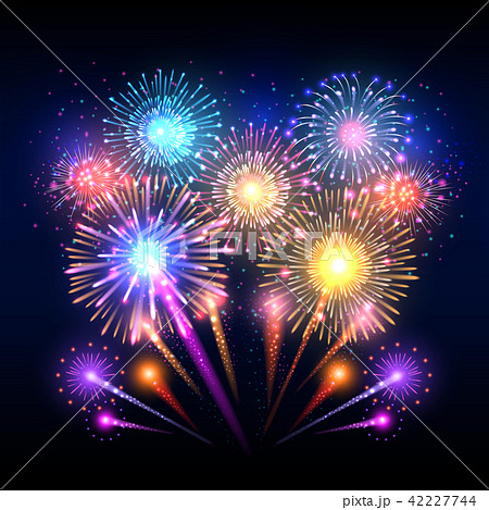 Festive vector background, poster with firework rockets bursting 42227744