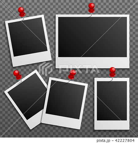 Photo polaroid frames on wall attached with pins. Vector set 42227804