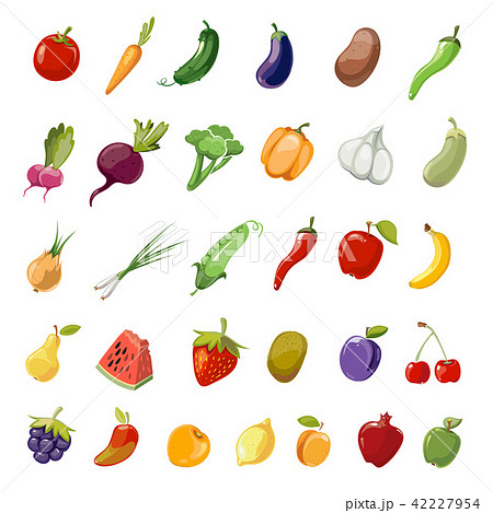 Cartoon fruit and vegetables organic healthy big vector icons collection 42227954