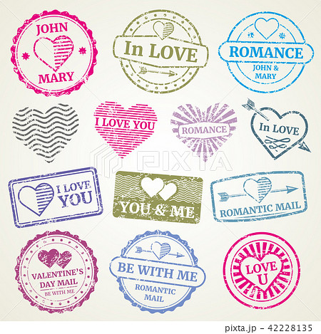 romantic postage stamp vector set for wedding and valentines day