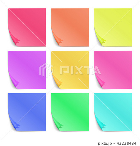 color post its paper stickers for notes vector setのイラスト素材