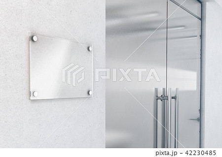 Blank glass nameplate design mockup, 3d rendering 42230485