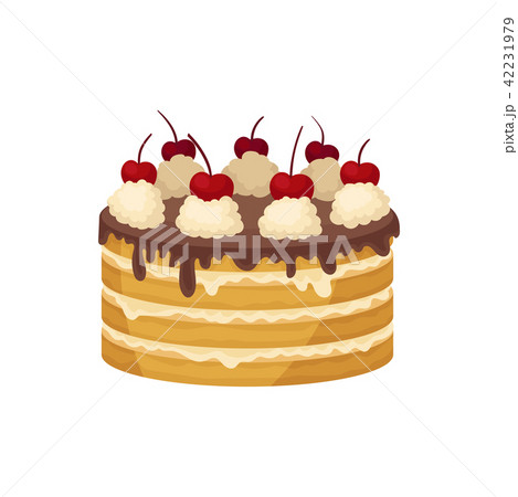 Big layered cake with chocolate glaze, whipped cream and red cherry on top. Delicious holiday 42231979